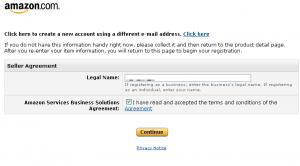 米国アマゾン出品者登録画面