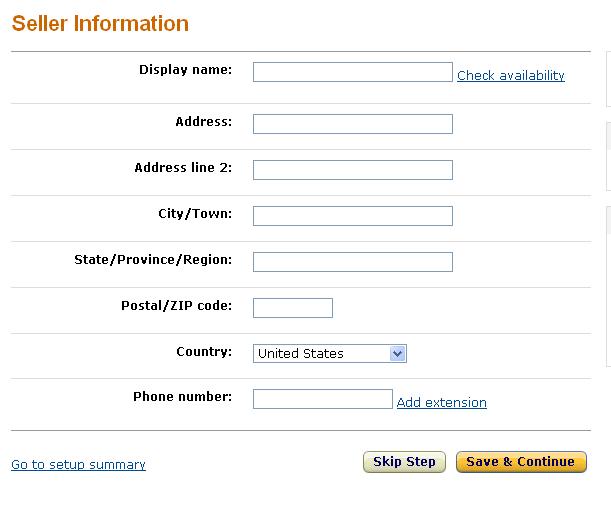 米国アマゾン出品者情報入力画面